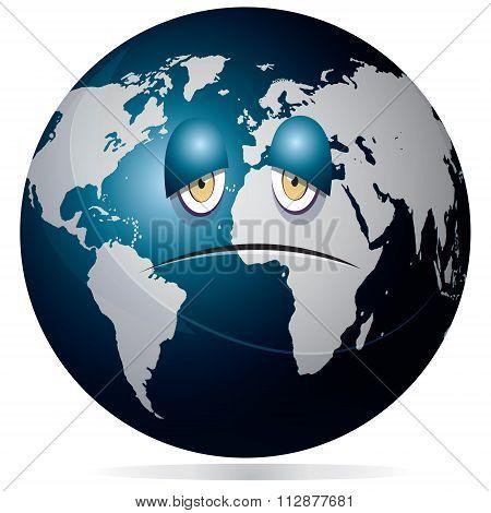 Sad And Sick Earth Concept