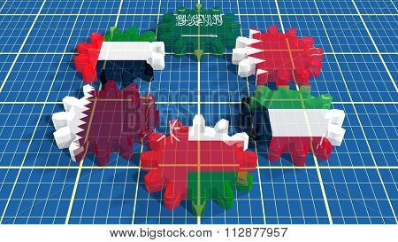 Cooperation Council For The Arab States Of Gulf  Members Flags
