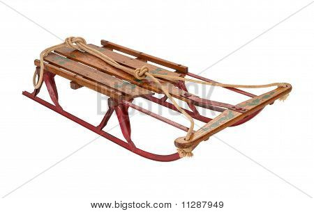 Antique Sled Isolated With A Clipping Path