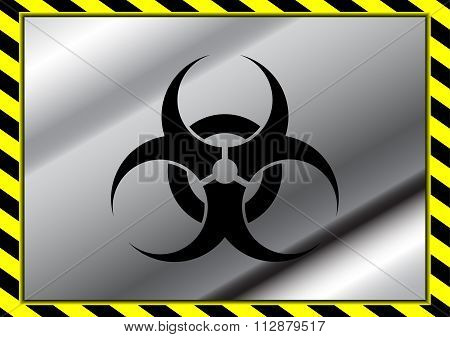 Vector Biohazard Symbol On Metal Plate And Yellow Caution Tapes