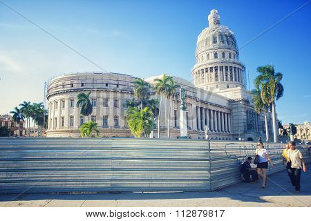 HAVANA, CUBA -NOV 29, 2015. National Capitol building, seat of government in Cuba until 1959, now the home to the Cuban Academy of Sciences.