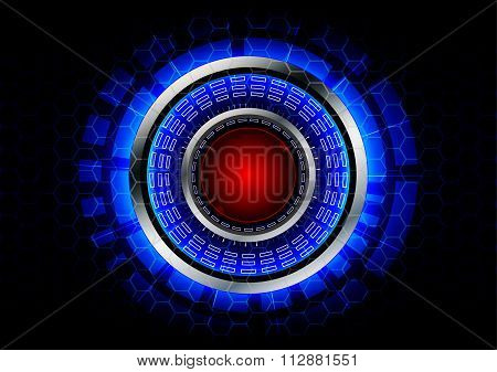 Abstract Circle Technology With Red Button And Metal Ring Background