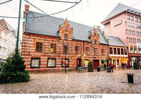 Malmo, Sweden - December 31, 2014: Old Town Center With The Oldest Homes And Buildings In The Christ