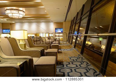 SINGAPORE - NOVEMBER 09, 2015: interior of Plaza Premium Lounge. Plaza Premium Lounge is a global service brand headquartered in Hong Kong