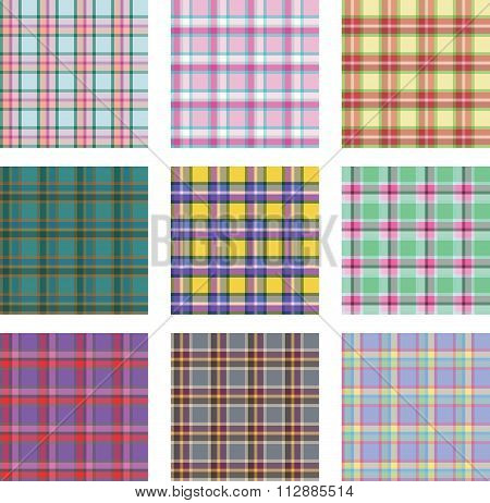 Seamless background set of plaid pattern, vector illustration