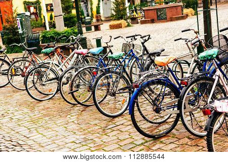 Malmo, Sweden - December 31, 2014: Parked Bicycles In City Center In Malmo In Sweden.