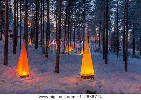 Winter Scene With Flashlights