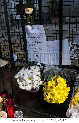 Madrid, Spain - November 15, 2015 - Flowers, Candles And Signs Against Terrorist Attack In Paris, Pl