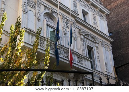 Madrid, Spain - November 15, 2015 - French Embassy Building In Madrid, With Flags At Half Mast After