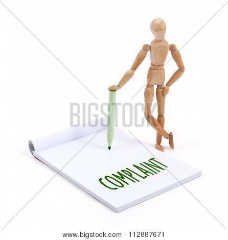 Wooden Mannequin Writing - Complaint