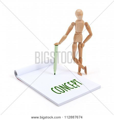 Wooden Mannequin Writing - Concept