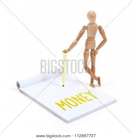 Wooden Mannequin Writing - Money