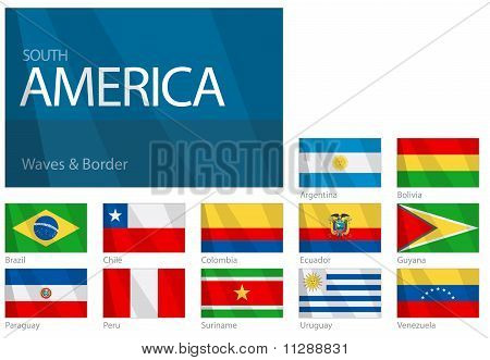 Waving Flags of South American Countries