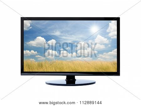 Television and sky nature on white background