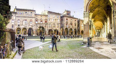 Bologna, Italy  - December 27, 2015:  Santo Stefano Square In Bologna Historic City Center