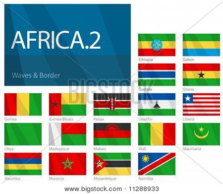 Waving Flags of African Countries - Part 2. World Flags Set.