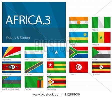 Ondeando banderas de los países africanos - parte 3. Conjunto de banderas del mundo.