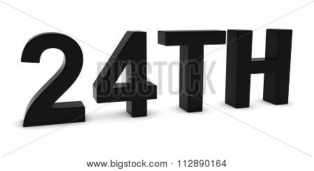 24Th - Black 3D Twenty-fourth Text Isolated On White