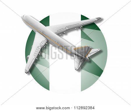 Plane and Nigeria flag.