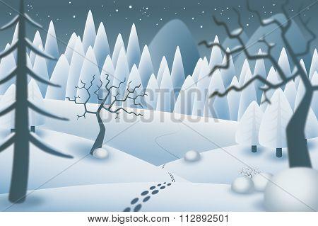Winternight landscape illustration