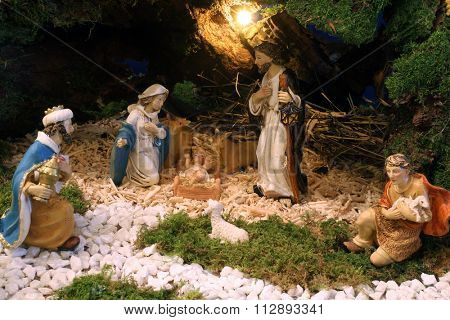ZAGREB, CROATIA - DECEMBER 17: Exhibition of Christmas mangers at the monastery of the Sisters Servants of the Infant Jesus in Zagreb, Croatia on December 17, 2014