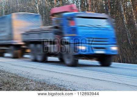 Moscow region, Russia, December, 28, 2015: The image of a truck on a highway in Moscow region