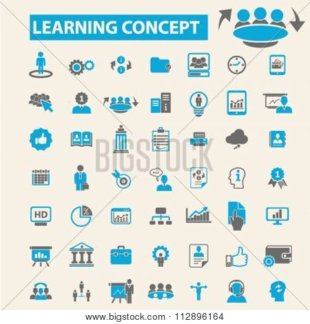 learning, education, business training  icons, signs vector concept set for infographics, mobile, website, application