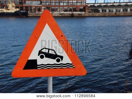 Sign Car Driving Into Harbor On Water Background