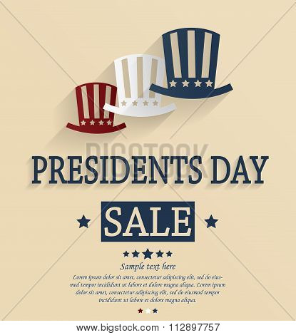 Presidents Day sale card with hats