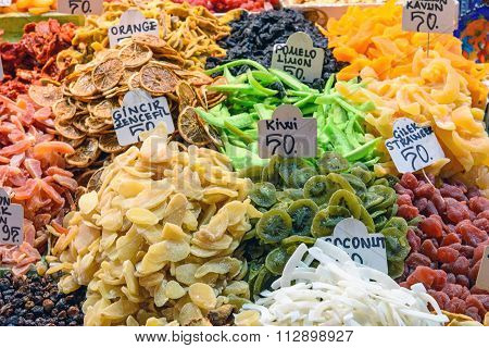 Dried fruits at a market in Turkey