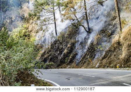 Fire On Slopes Of Hill