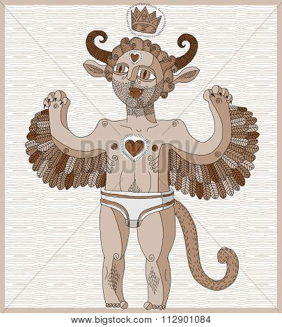 Vector Hand Drawn Graphic Lined Illustration Of Weird Creature, Cartoon Nude Man With Wings, Animal