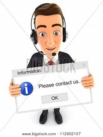 3d businessman holding a computer message