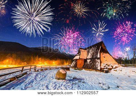 New Years firework display in Tatra mountains, Zakopane