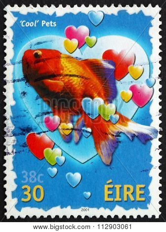 Postage Stamp Ireland 2001 Goldfish And Hearts, Greetings Stamp