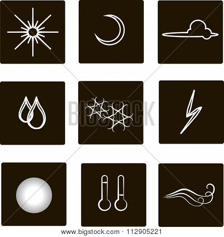 Weather flat square icons. White outlines, clouds, fog, moon, sun, rain, snow, storm, temperature, w