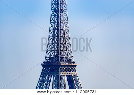 Closeup of the Eiffel Tower in Paris, France