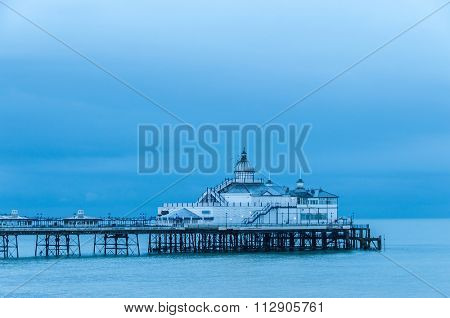 Eastbourne pier in UK, blue hour light