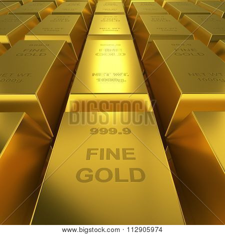 Gold reserve concept image. Golden bars repository 3D render.