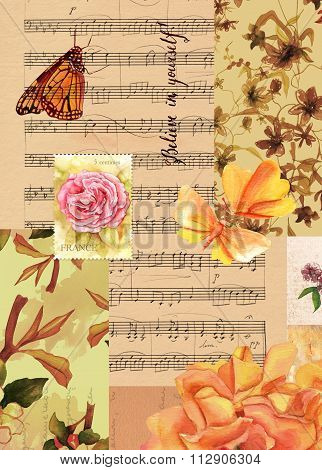 Vintage style collage with sheet music, roses and butterflies