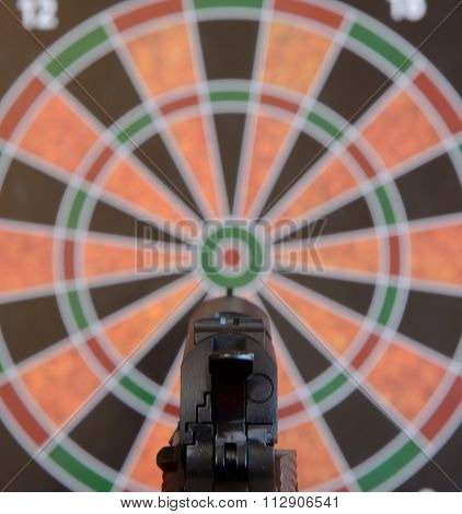 Airsoft Handgun Aiming At Target