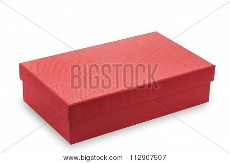 Red cardboard box on white background
