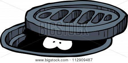 Cartoon Doodle Manhole