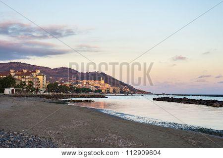 Sunset Over The Coastline Of Cervo, Ligurian Riviera, Italy