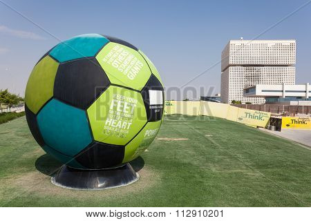 Football With Slogans In Doha Education City