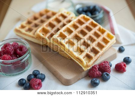 Home made Belgian waffles with fresh berries