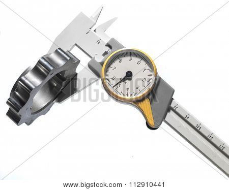 precision measuring machine part with a caliper