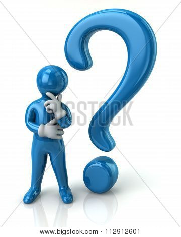 Blue Thinking Man And Question Mark