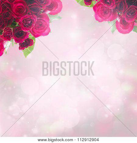 frame of dark  red rose petals