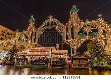 New Year And Christmas Lighting Decoration Of The City. Russia, Moscow, Tverskaya Square.